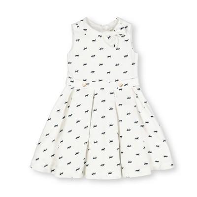Hope & Henry Girls' Sleeveless Dress with GatheWaist and Bow Detail, Kids