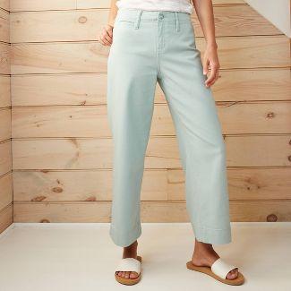 Women's High-Rise Wide Leg Cropped Pants - A New Day™ Aqua 16