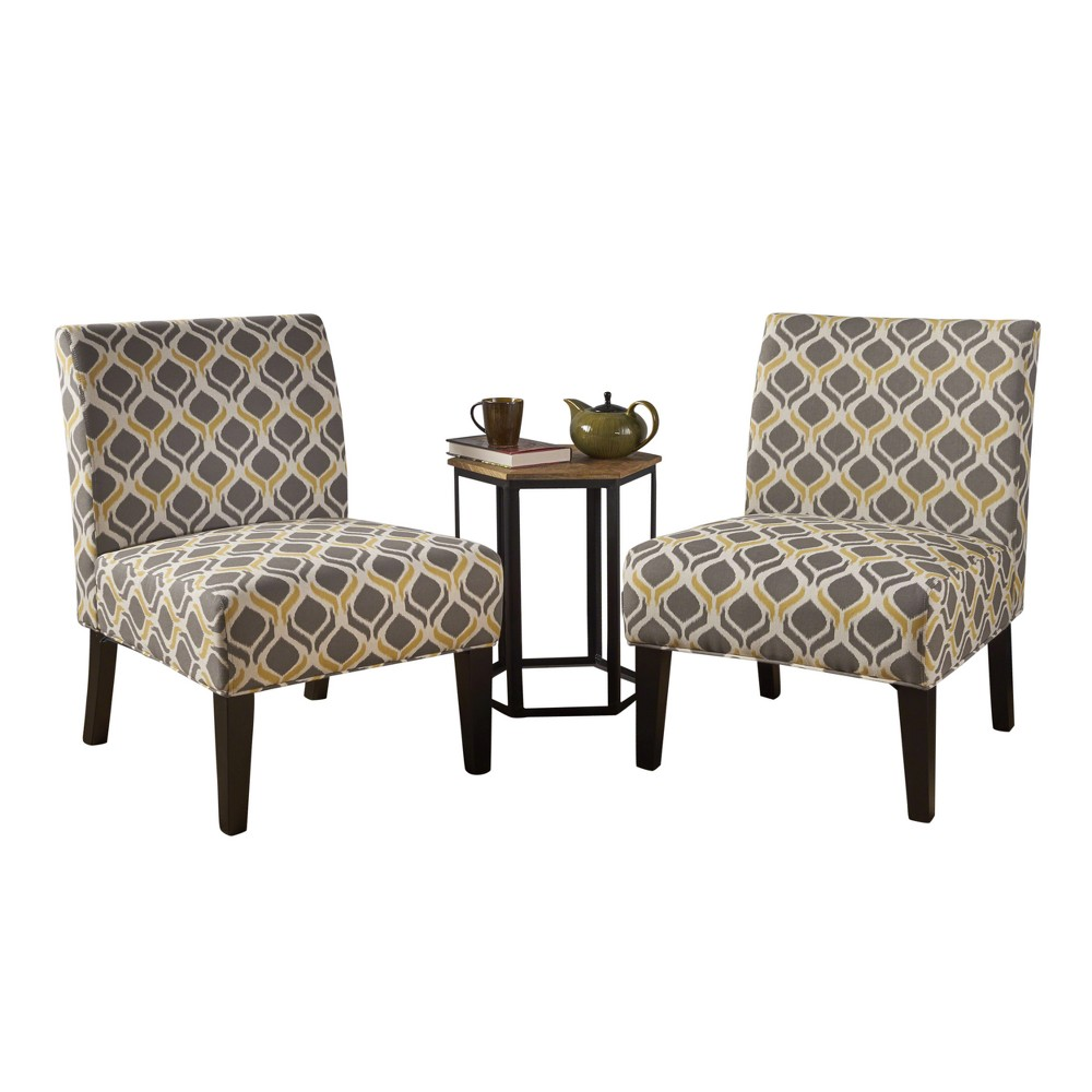 Kassi Accent Chair - Yellow/Grey (Set of 2) - Christopher Knight Home