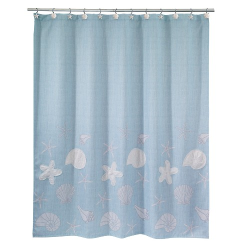 Sequin Shells Shower Curtain Ocean Blue