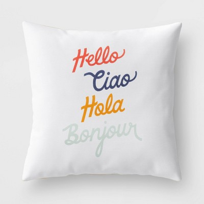 Square 'Hello' Pillow White - Room Essentials™