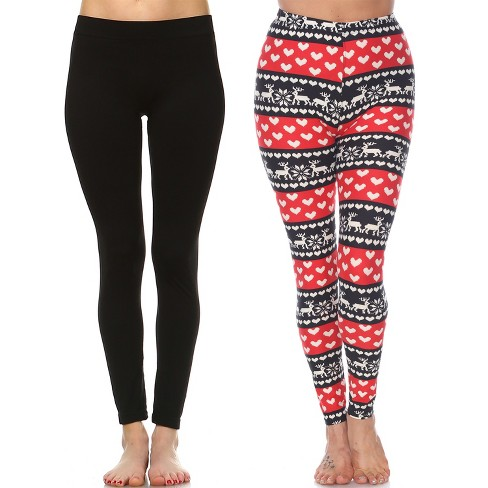Women's Pack of 2 Leggings - One Size Fits Most - White Mark - image 1 of 1