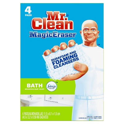 Mr. Clean Bath with Febreze Meadows & Rain Scent Magic Eraser - 4ct