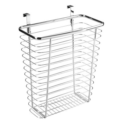 InterDesign Axis Over-the-Cabinet Steel Wastebasket 14  Chrome