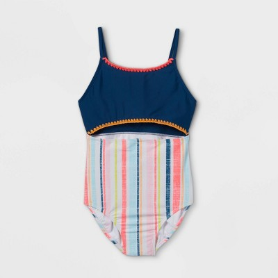 Girls' Embroidered Striped One Piece Swimsuit - art class™