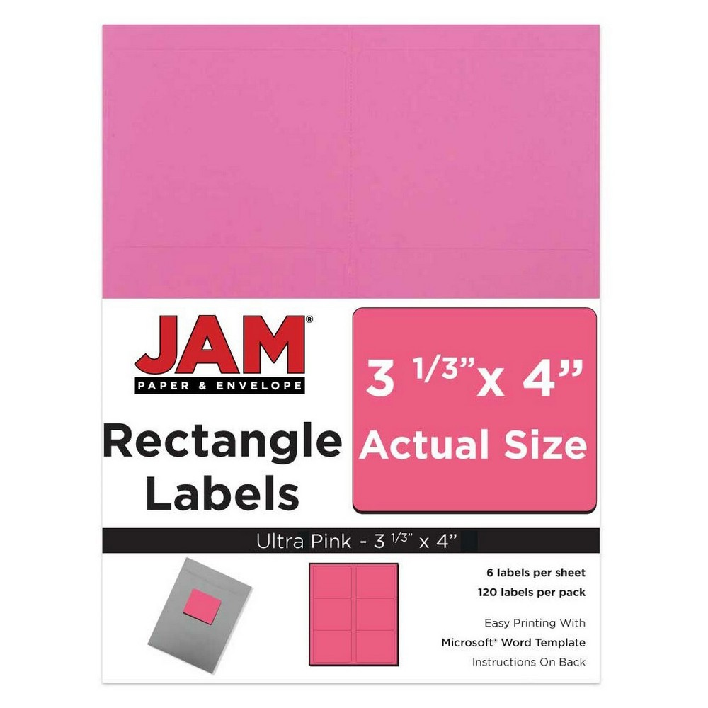 """Image of """"JAM Paper Mailing Labels 3 1/3"""""""" X 4"""""""" 120ct - Pink"""""""