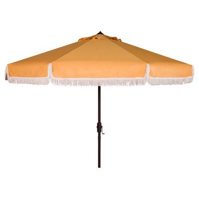 Milan Fringe 9' Crank Outdoor Auto Tilt Umbrella - Yellow/White Trim - Safavieh