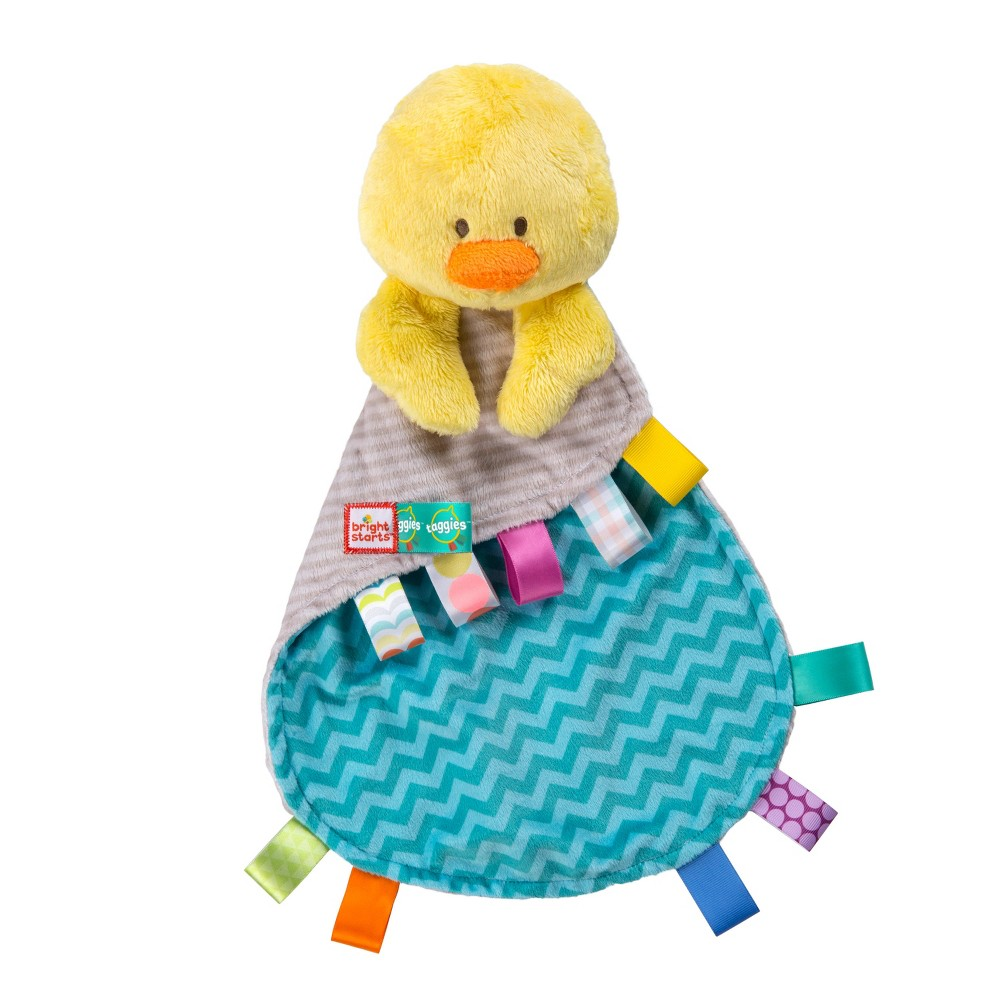 Bright Starts Tag & Snuggle Taggies Pal Fun Comes First! Taggies tags meet super soft fabrics for the ultimate soothing experience. The Tag and Snuggle Pal from Bright Starts Taggies are sure to be baby's favorite cuddle buddy. The adorable plush duck features satin Taggies tags that babies love to rub! When things get a little messy, simply toss in the washing machine and air dry. Recommended for ages newborn and up.