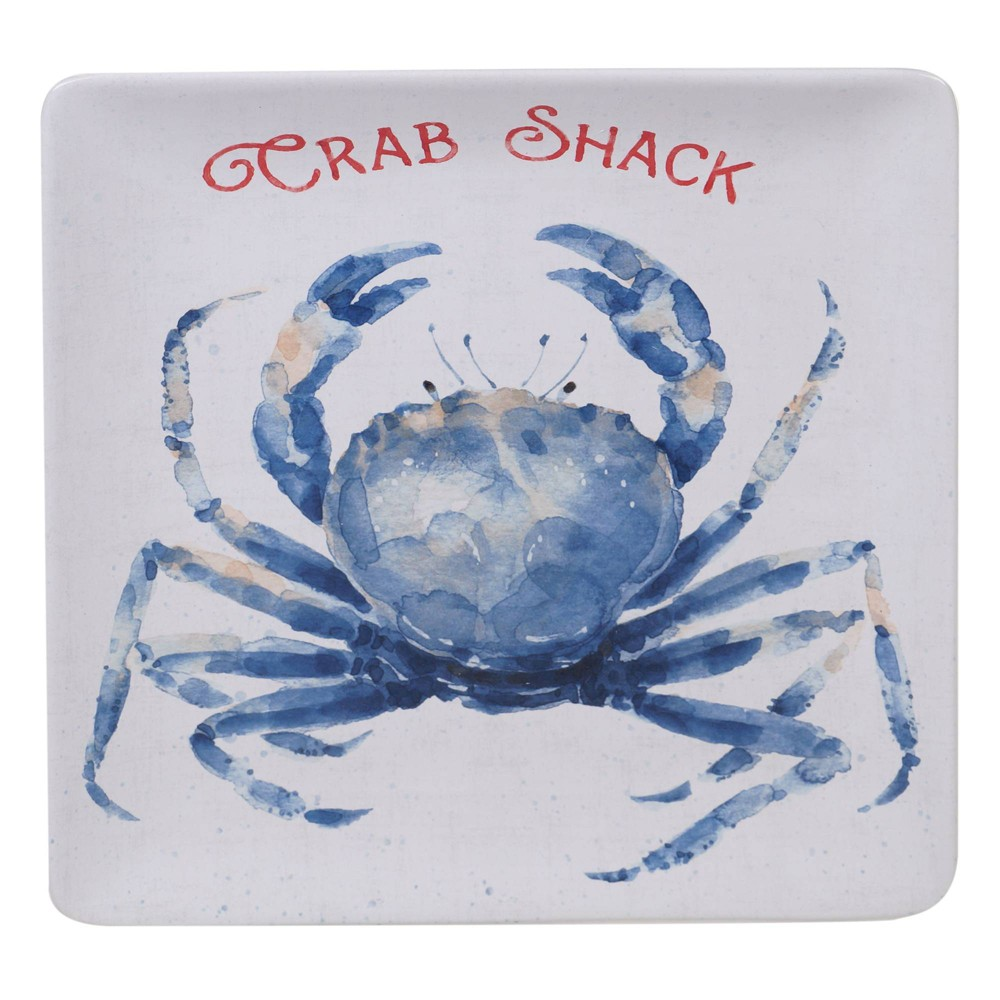 "Image of ""12.5"""" Earthenware Nautical Life Crab Square Platter Blue - Certified International, White Blue"""