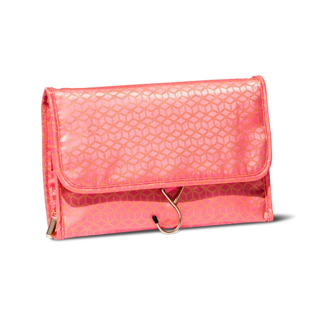 Sonia Kashuk Hanging Cubic Gold Makeup Bag - Coral This Organizer is perfect for small spaces. It features two zip pockets and a brush organizer with protective flap that keeps your bristles clean. It also includes a hook, so you can it from a towel rack or hook, keeping your countertops clear. When you're done, the Organizer folds to close, snaps shut, and can be easily tucked into a cabinet or drawer, or into a suitcase for travel. Color: Coral.