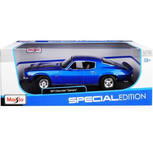 1971 Chevrolet Camaro Metallic Blue with Black Stripes 1/18 Diecast Model Car by Maisto - image 1 of 1
