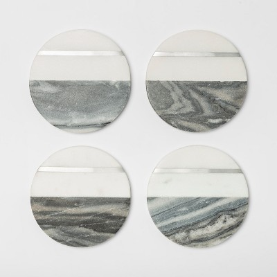 4  4pk Marble Coasters Gray/White - Threshold™