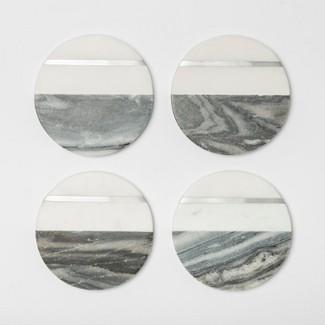 "4"" 4pk Marble Coasters Gray/White - Threshold™"