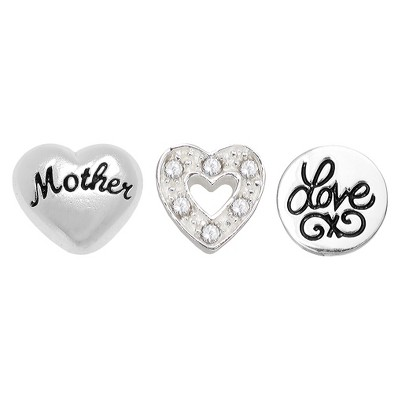 """Treasure Lockets 3 Silver Plated Charm Set with """"To Mother with Love"""" theme - Silver"""