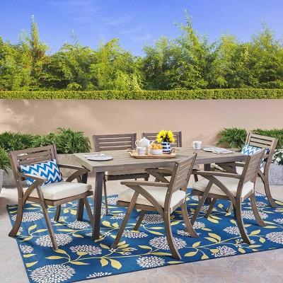 Della-Hermosa 7pc Acacia Wood Dining Set - Christopher Knight Home