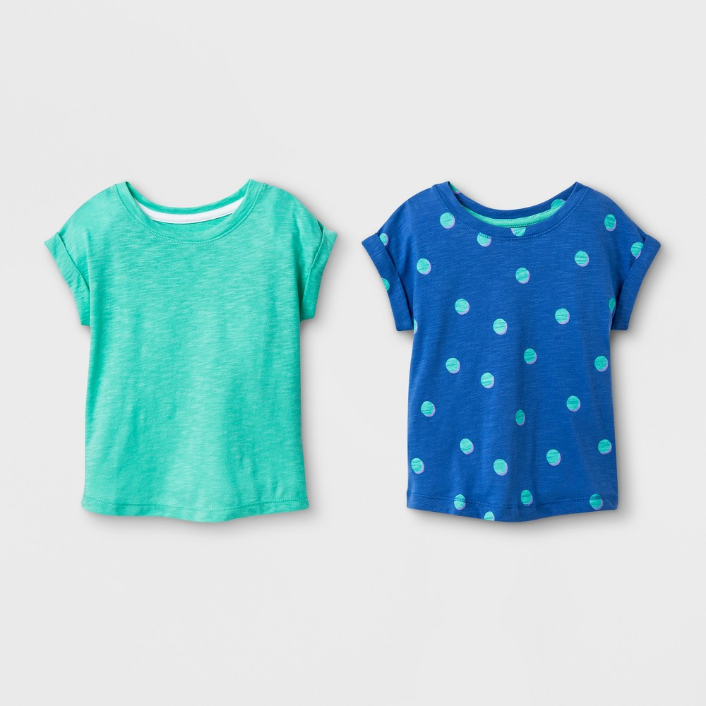 Toddler Girls' 2pk Cap Sleeve T-Shirt - Cat & Jack Iridescent Green 5T
