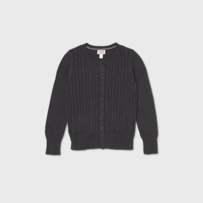 Girls' Crew Neck Cable Knit Uniform Cardigan - Cat & Jack™ Charcoal Gray