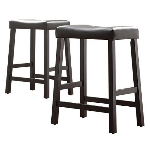 "Hahn Saddle Seat 24"" Counter Stools (Set of 2) - Black - Inspire Q - image 1 of 5"