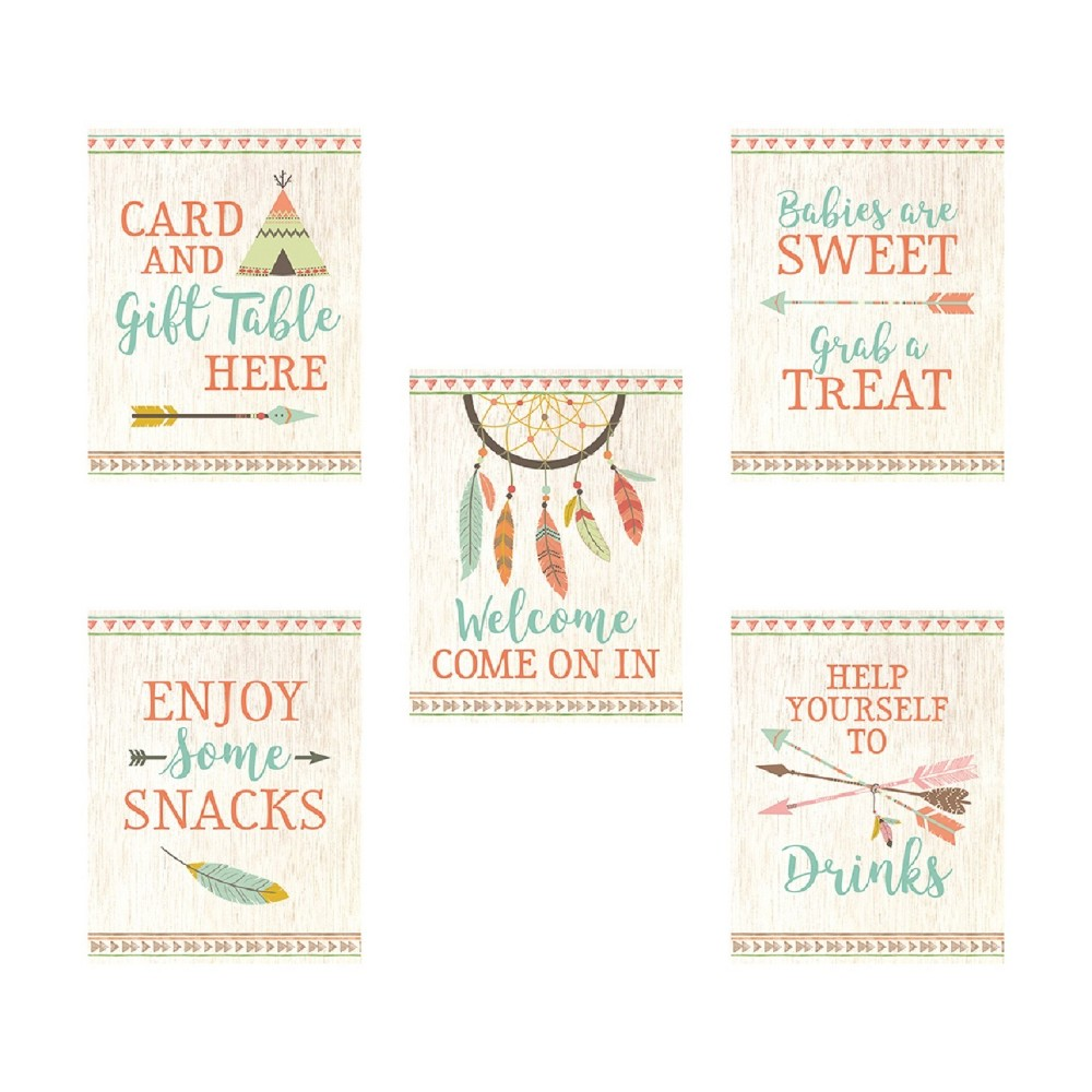 Lillian Rose Tribal Baby Shower Décor Signs Set Of 5, Multi-Colored