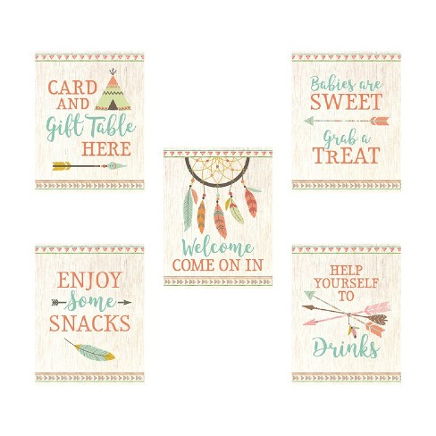 Lillian Rose Tribal Baby Shower Décor Signs Set Of 5 - image 1 of 6