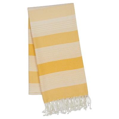 Set of 2 Yellow Fouta Stripe Kitchen Towel - Design Imports
