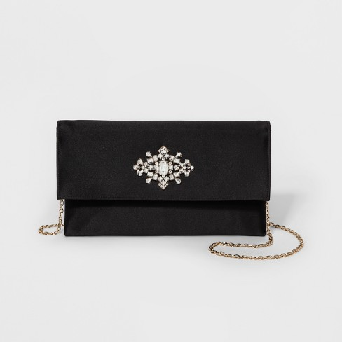 Women's Estee & Lilly Satin With Stone Clutch - Black - image 1 of 3