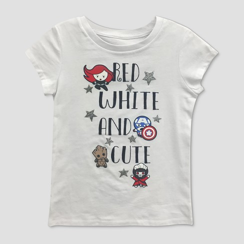 Girls' Marvel Guardians Of The Galaxy 'Red White And Cute' Short Sleeve T-Shirt - White - image 1 of 1