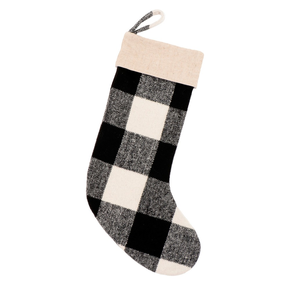 20 Black and White Plaid Christmas Stocking - Wondershop