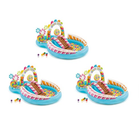 """Intex 9' x 6' x 51"""" Inflatable Candy Zone Kiddie Pool with Waterslide (3 Pack) - image 1 of 4"""