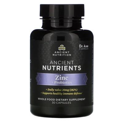 Dr. Axe / Ancient Nutrition Ancient Nutrients, Zinc + Probiotics, 30 Capsules, Mineral Supplements