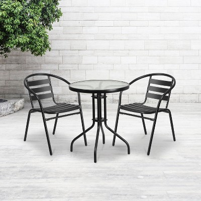 Emma and Oliver Metal Restaurant Dining Stack Chair with Aluminum Slats