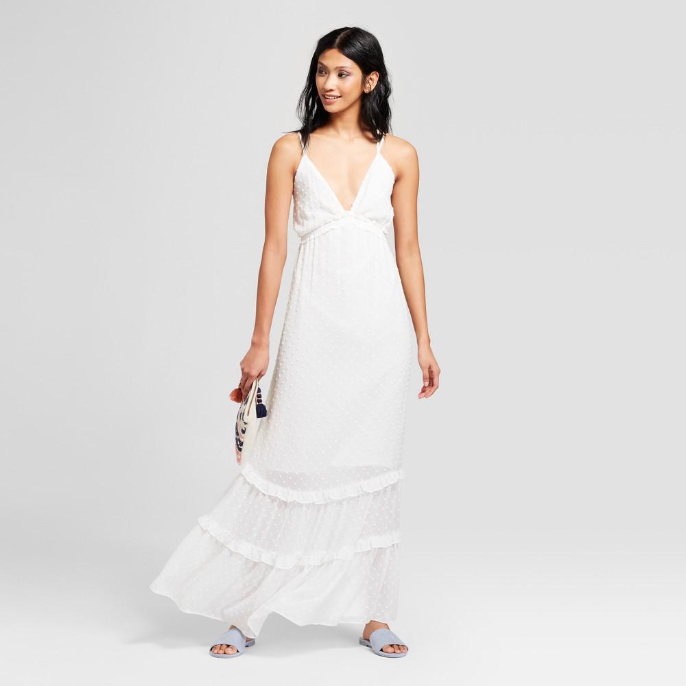 Women's Deep V-Neck Maxi Dress - Needlework White L