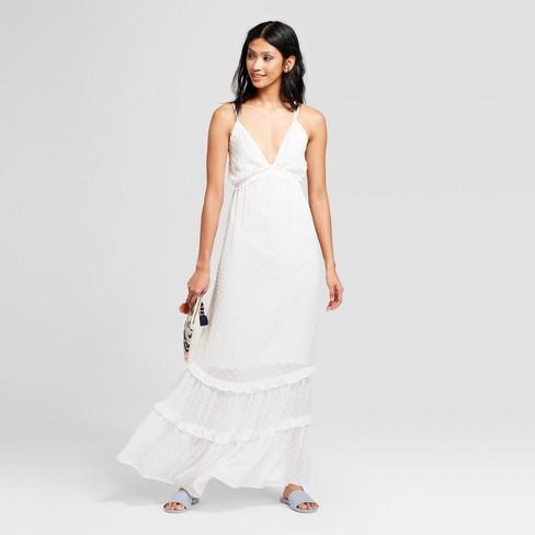 6407a707ca73 Women s Deep V-Neck Maxi Dress - NEEDLEWORK White   Target