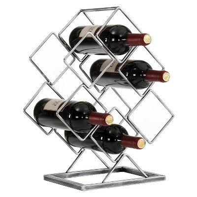 Danya B™ 6 Bottle Electroplated Wine Rack Antique Silver