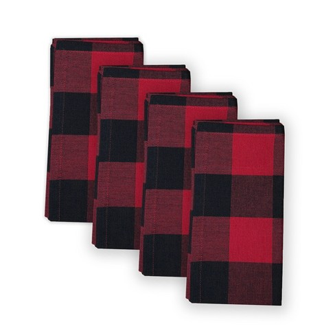 "Farmhouse Living Holiday Buffalo Check Napkins, Set of 4 - 20"" x 20"" - Red/Black - Elrene Home Fashions - image 1 of 4"