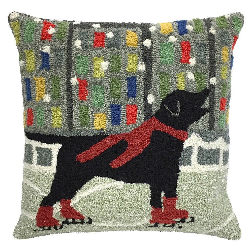 Red Holiday Ice Dogs Indoor/Outdoor Throw Pillow (18