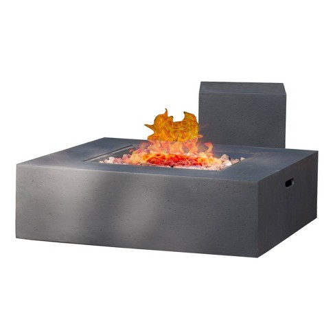 "Aidan 40"" Light Weight Concrete Gas Fire Pit Table With Tank Holder Square - Christopher Knight Home  - image 1 of 4"
