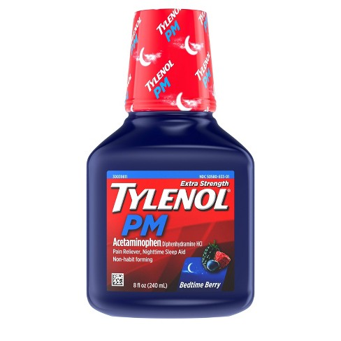 Tylenol PM Extra Strength Pain Relief & Sleep Aid Liquid - Acetaminophen - Berry - 8 fl oz - image 1 of 10