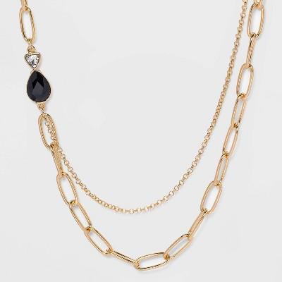 Multi Bezel Stone Necklace - A New Day™ Gold