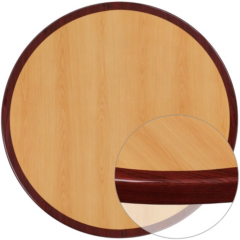 Flash Furniture 24'' Round 2-Tone High-Gloss Cherry / Mahogany Resin Table Top with 2'' Thick Drop-Lip - image 1 of 1