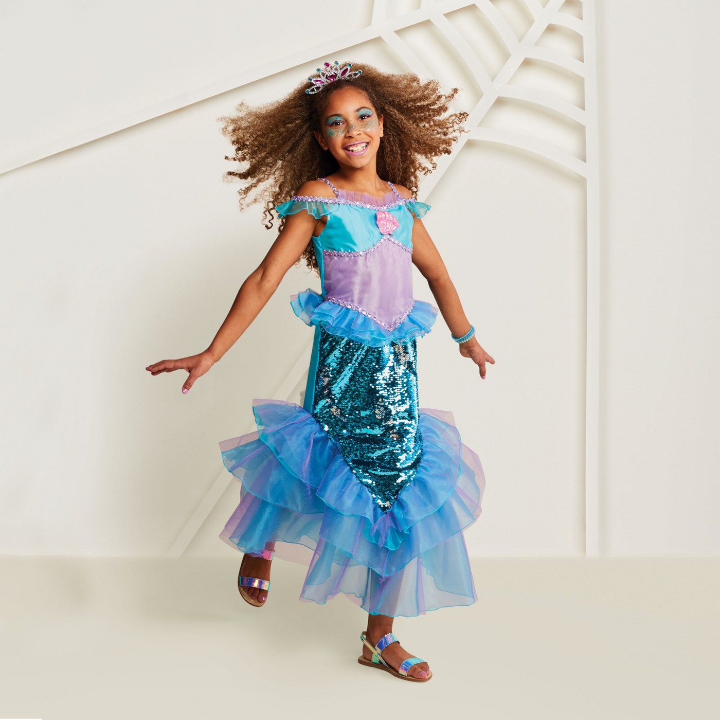 Girls' Deluxe 2-Sided Sequin Mermaid Halloween Costume - Hyde and Eek! Boutique™ - image 1 of 4