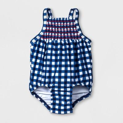Baby Girls' Checkered One Piece Swimsuit - Cat & Jack™ Navy 9-12M