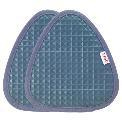 "2pk Gray Waffle Silicone Pot Holder (7.5""x8.25"")- T-Fal"