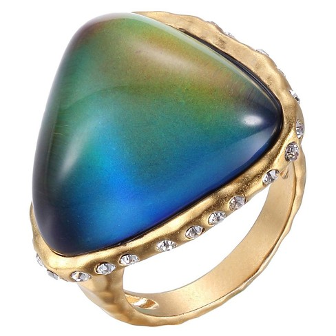 Color Changing 18k Yellow Gold Over Fine Silver Plated Bronze Thermochromic Liquid Crystal Mood Ring - image 1 of 1