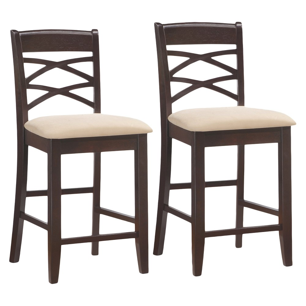 Set of 2 Microfiber And Wood Double Crossback Counter Height Stool - Beige - Leick Home, Brown