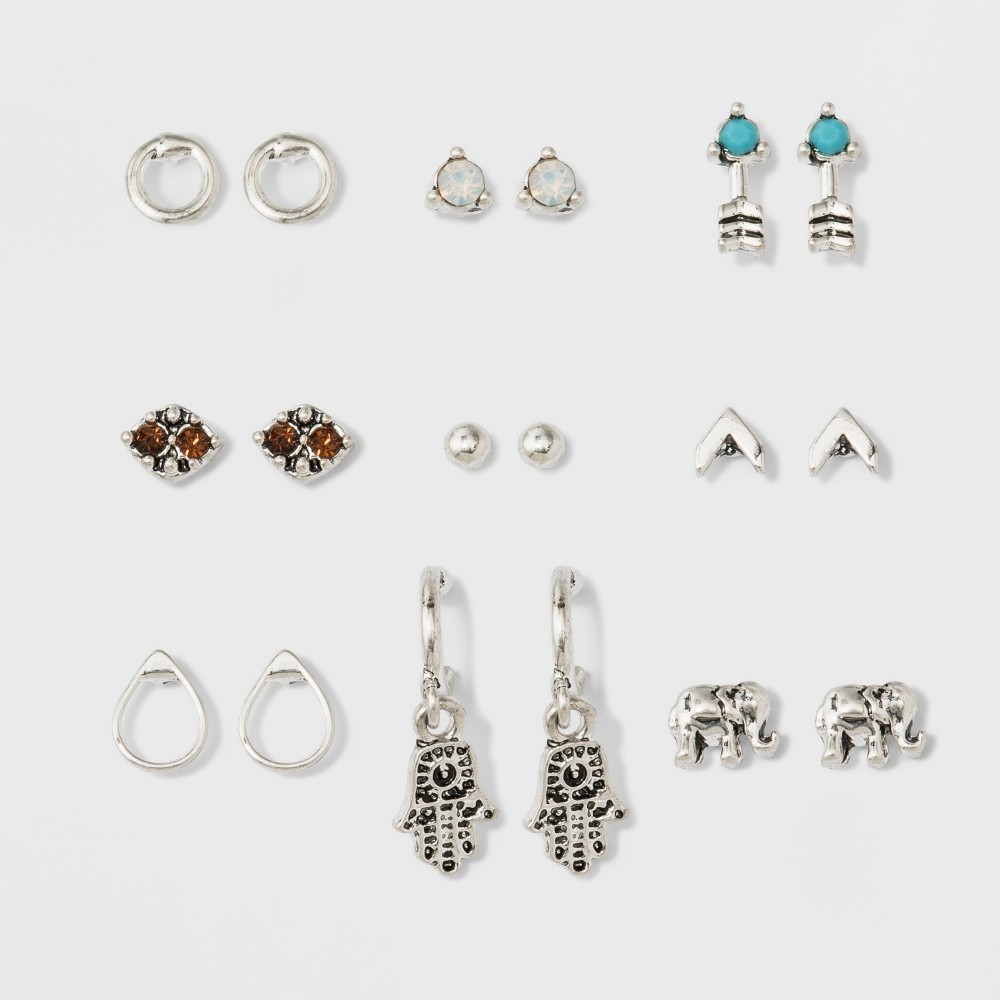 Hamsa, Elephant and Stone Stud Earring Set 9ct - Wild Fable, Multi-Colored