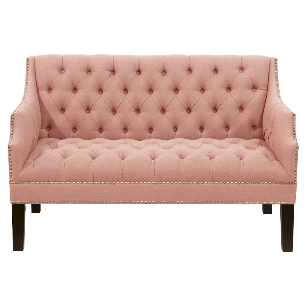 Diamond Tufted Nail Button Settee in Linen Petal - Skyline Furniture, Pink
