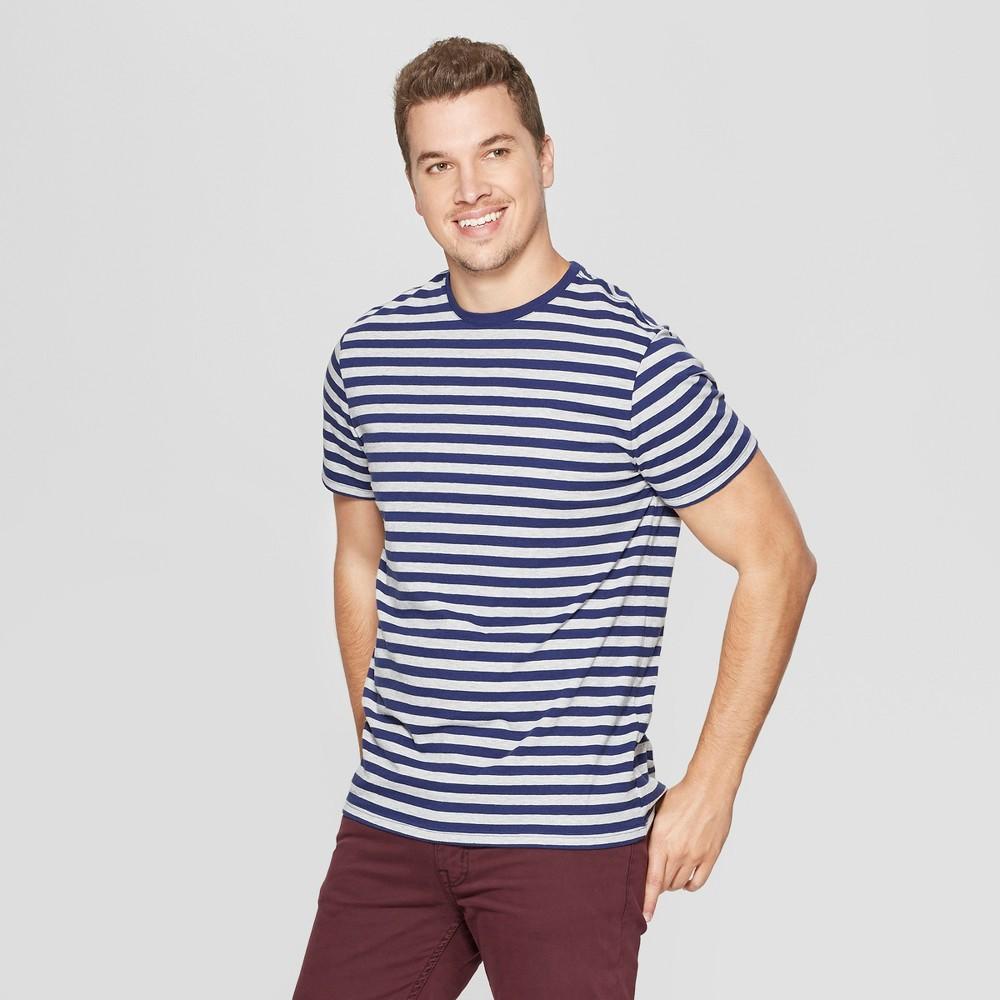 Men's Striped Standard Fit Short Sleeve Novelty Crew T-Shirt - Goodfellow & Co Inky Blue S
