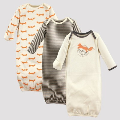 Touched by Nature Baby Girls' 3pk Fox Organic Cotton Gowns - Off White/Orange 0-6M
