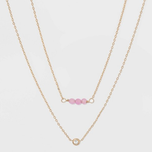 Silver Plated Duo Necklace - A New Day™ - image 1 of 3